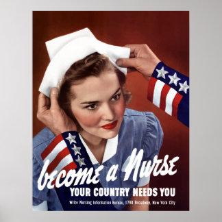 Poster Deviennent une infirmière