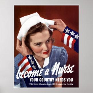 Poster Deviennent une infirmière -- Frontière