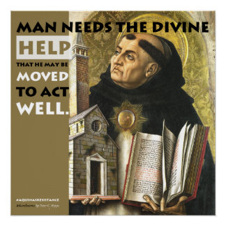 Poster Devinez l'affiche de résistance d'Aquinas d'aide