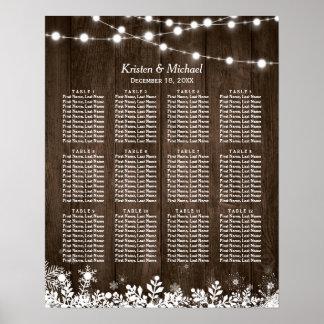Poster Diagramme en bois rustique d'allocation des places