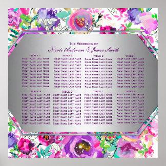 Poster Diagramme floral moderne coloré rose pourpre