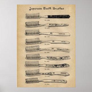 Poster Diagramme japonais dentaire de brosses à dents de