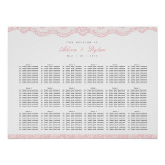 Poster Diagramme rose romantique d'allocation des places