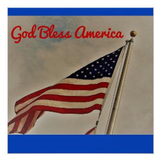 Poster Dieu bénissent l'affiche de l'Amérique