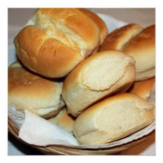Poster Dîner blanc Rolls dans une photo de panier de pain