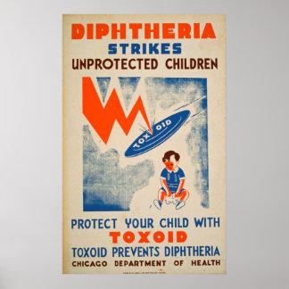 Poster Diptheria frappe les enfants non protégés vintages