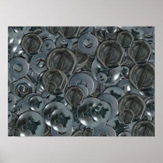 Poster Diverses têtes de vis totalement timbrées en métal