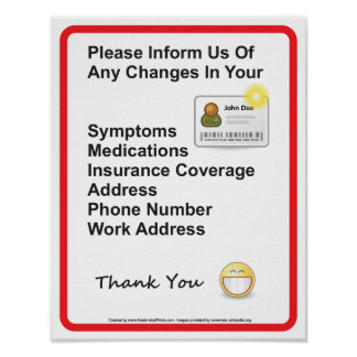 Poster Docteur Patient Information Wall Sign