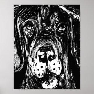 Poster Dogue dessin de charbon allemand