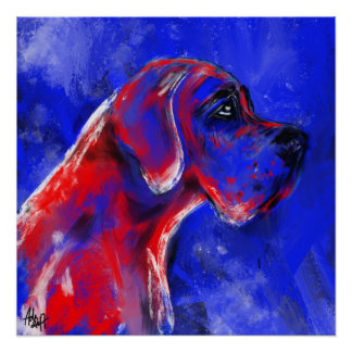 Poster Dogue vernis allemand rouge blaut