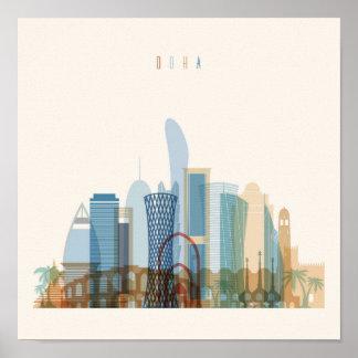 Poster Doha, horizon de ville du Qatar |