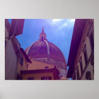 Poster Dôme de Brunelleschi affiche à Florence, Italie