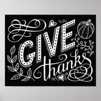 Poster Donnez la citation de lettrage de main de mercis