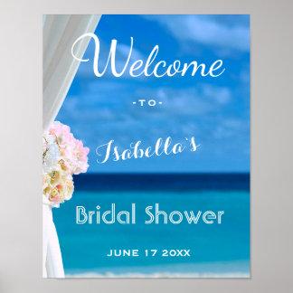Poster Douche nuptiale d'été de plage d'océan du signe
