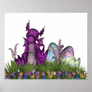 Poster Dragon de bébé de surprise de Pâques
