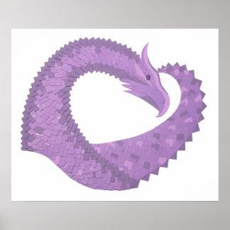 Poster Dragon de coeur pourpre de lavande sur le blanc