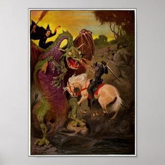 Poster Dragon de combat de chevalier par J. Allen St John