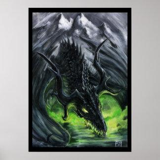 Poster Dragon de la montagne foncée