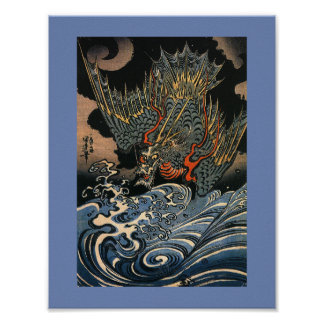 Poster Dragon de vol japonais
