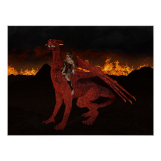 Poster Dragon du feu et affiche de femme de guerrier