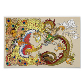 Poster dragon et Phoenix chinois