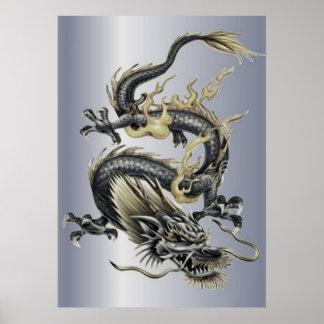 Poster Dragon métallique