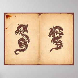 Poster Dragons chinois de mythologie, vieux papier -