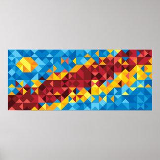 Poster Drapeau abstrait du Congo, République démocratique