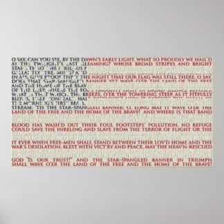 Poster Drapeau américain avec l'hymne national