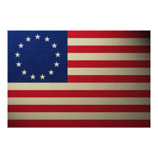 Poster Drapeau Canvased de Betsy Ross Antiqued
