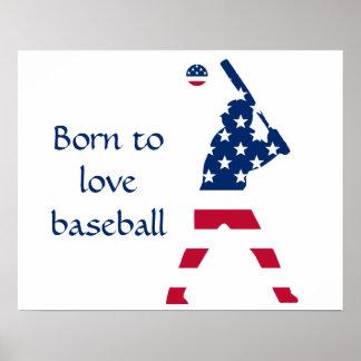 Poster Drapeau d'Américain de base-ball de l'Amérique