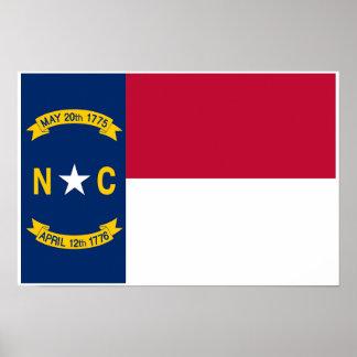 Poster Drapeau d'état de la Caroline du Nord