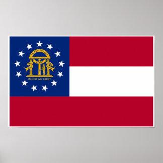 Poster Drapeau d'état de la Géorgie