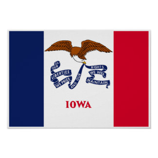 Poster Drapeau d'état de l'Iowa