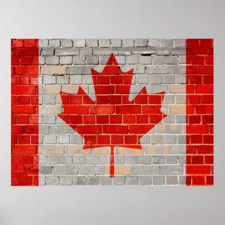 Poster Drapeau du Canada sur un mur de briques