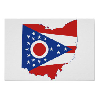 Poster Drapeau et carte d'état de l'Ohio