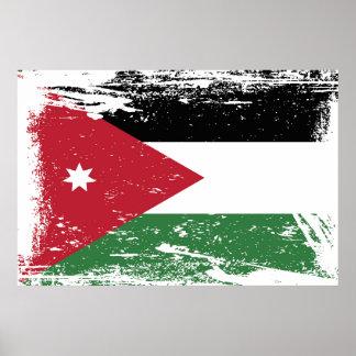 Poster Drapeau grunge de la Jordanie