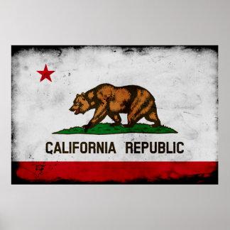 Poster Drapeau patriotique grunge d'état de la Californie