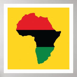 Poster Drapeau rouge, noir et vert de l'Afrique