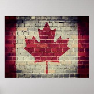 Poster Drapeau vintage du Canada sur un mur de briques
