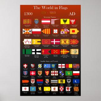 Poster Drapeaux 1300 d'ANNONCE du monde