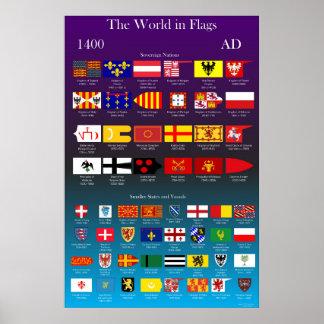 Poster Drapeaux 1400 d'ANNONCE du monde