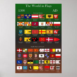Poster Drapeaux 1500 d'ANNONCE du monde