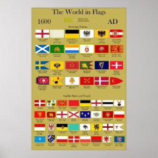 Poster Drapeaux 1600 d'ANNONCE du monde