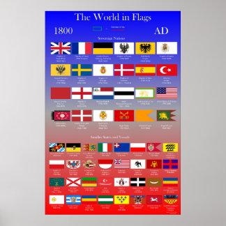 Poster Drapeaux 1800 d'ANNONCE du monde