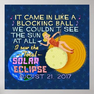 Poster Drôle américain solaire total d'éclipse le 21 août