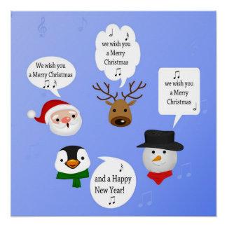 Poster Drôle nous vous souhaitons un Joyeux Noël - copie