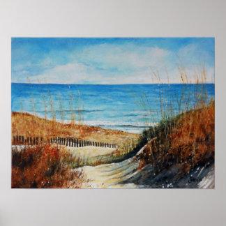 Poster Dunes et océan de sable de plage peignant