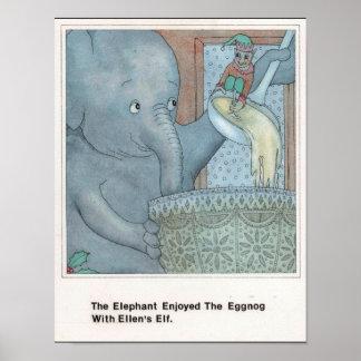 Poster E pour l'affiche d'éléphant