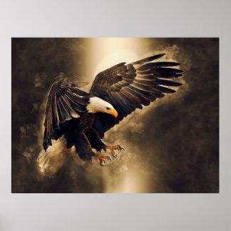 Poster Eagle chauve américain a laissé la liberté monter